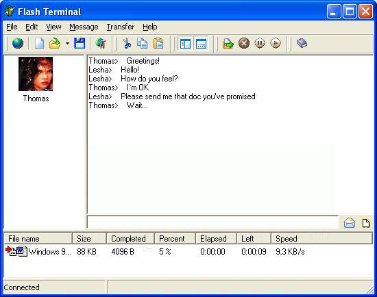 terminal, file exchange, transfer, chat, messaging, modem, null-modem, hyper ter