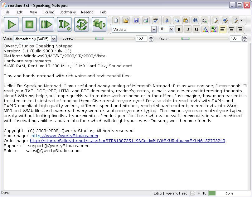 Click to view Speaking Notepad screenshots