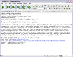 Speaking Notepad main window