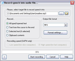 Recording speech into audio file window